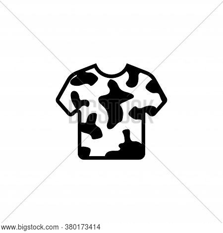 Camouflage Army T-shirt, Military Clothes. Flat Vector Icon Illustration. Simple Black Symbol On Whi