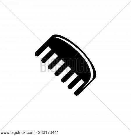 Barbershop Comb, Hairdresser Hairbrush. Flat Vector Icon Illustration. Simple Black Symbol On White