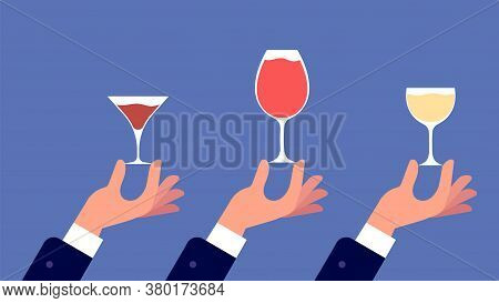 Sommelier With Glass. Hands Hold Glasses With Wine, Liquor, Vermouth Banner. Party Friends Or Family