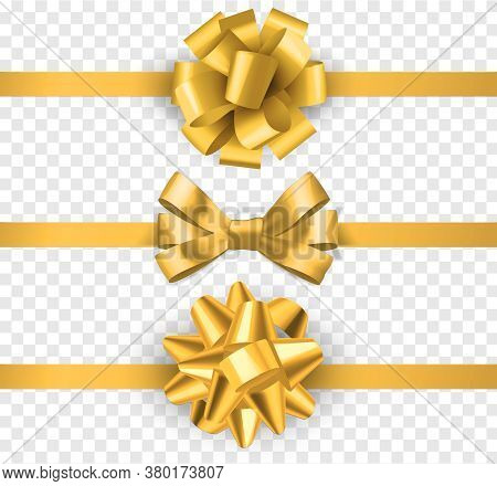 Gold Gift Bows With Ribbons. Realistic Horizontal Silk Yellow Ribbon With Decorative Bow, Festive El