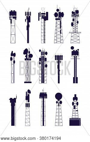 Antenna Tower Silhouettes. Isolated Communications Equipment, Media Radio Telecommunications Constru