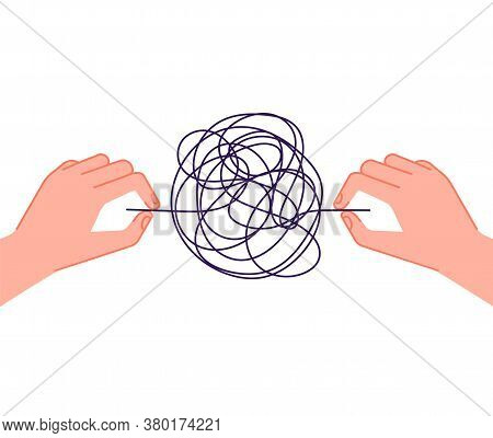 Psychotherapy Help. Mind Chaos Metaphor, Hand Unravel Tangled Wires. Psychology Problems Treatment,