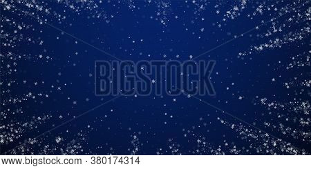 Beautiful Snowfall Christmas Background. Subtle Flying Snow Flakes And Stars On Winter Sky Backgroun