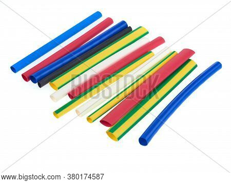 Assortment Of Heat Shrink Tubing For Electrical Insulation, Isolated On White Background