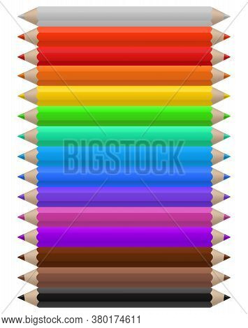 Color Pencils. Set Of Multicolor Pencil, Office Or School Supplies Arranged In Line By Colors, Brigh