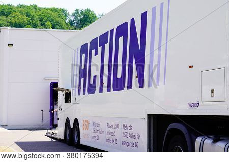 Bordeaux , Aquitaine / France - 08 04 2020 : Action Logo Sign On Delivery Trailer Truck Of Superstor