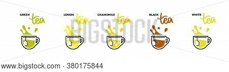 Tea Cup Icons, Hot Drink With Splashes And Droplets. Grade Tea Menu, All Kind Of Tea With Names And