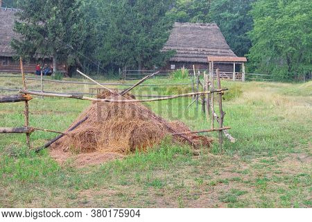 Straw Stack In Village In Summer. Rustic Landscape With Green Forest Background. Collecting Dry Hay