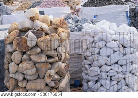 White Marble And Other Natural Stones For Decoration In Construction Is Sold On Market. Construction