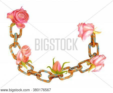Watercolor Rusty Chain With Flowers. Hand Painted Old Chain Links With Dry Pink Roses Isolated On Wh