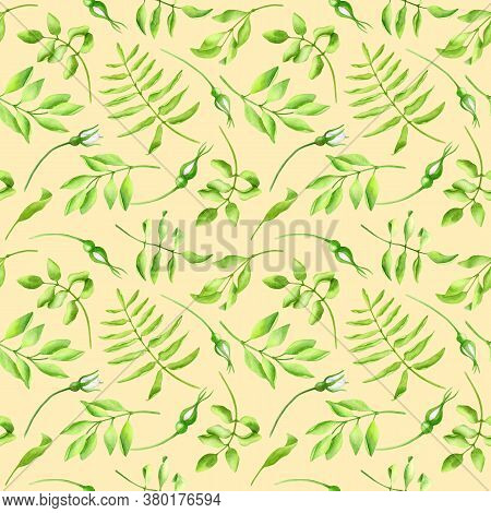 Watercolor Green Leaves And Flower Buds Seamless Pattern. Hand Painted Greenery On Pastel Yellow Bac