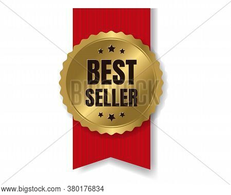 Gold Bestseller Badge With Ribbon And White Background With Gradient Mesh, Vector Illustration