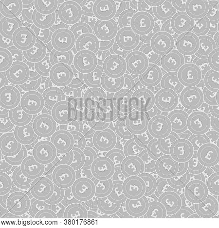 British Pound Silver Coins Seamless Pattern. Tempting Scattered Black And White Gbp Coins. Success C