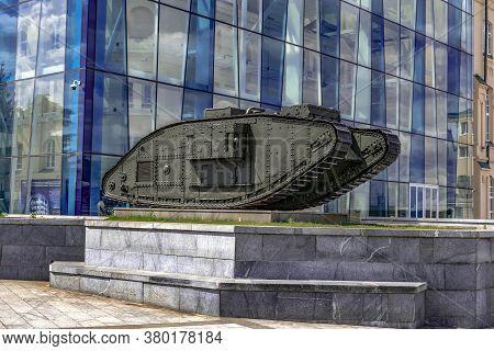 Kharkiv, Ukraine - July 20, 2020: British Mark V Composite Tank On A Pedestal Outdoors Against The B