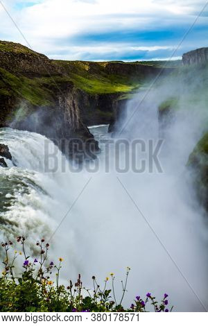 Southwest Iceland. Water smoke hanging over the waterfall all the time. Gullfoss