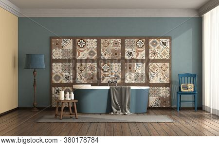 Bathroom With Blue Bathtub In Front Of A Vintage Tile Panel - 3d Rendering