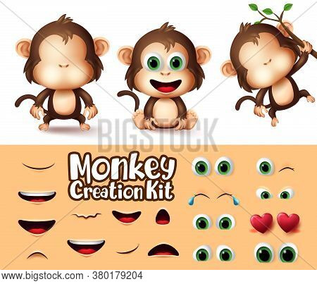 Monkey Animals Character Creator Vector Set. Monkeys Animal Character Eyes And Mouth Editable Create