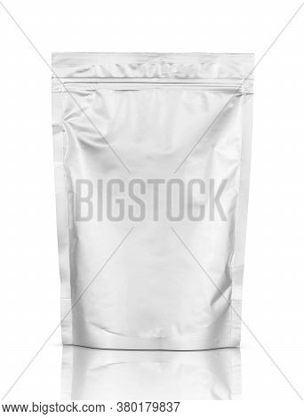 Blank Packaging Aluminum Foil Zipper Pouch Isolated On White Background With Clipping Path Ready For