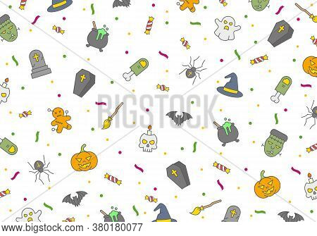 Halloween Vector Pattern, Horror Elements, Halloween Poster With Ghosts, Bats, Pumpkin, Skulls And Z