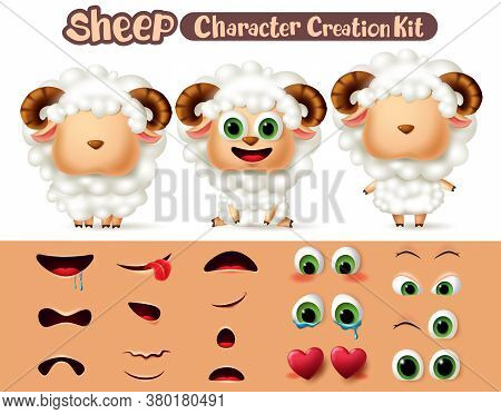 Sheep Animal Characters Creation Vector Set. Sheep Or Lamb Editable Kit Animal Create Eyes And Mouth
