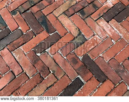 Brick Texture. City Sidewalk Background. Abstract Stone Brick Pattern. The Texture Of The Sidewalk S