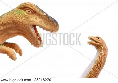 Childrens Toys Two Dinosaurs Close Up Isolated On White Background