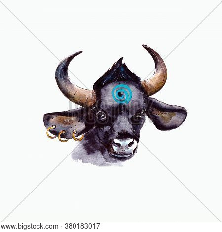 Watercolor Illustration.year Of The Bull 2021.cute Unusual Steers. Illustration For The New Year And