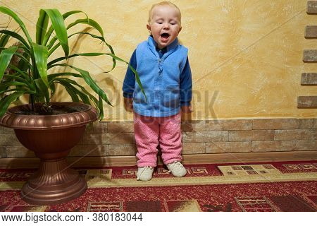 Baby Singing In The Room, In The Room The Baby Stands By The Wall And Sings