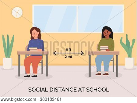Social Distancing At School Concept Illustration. Children Sitting In The Classroom With Books On Th