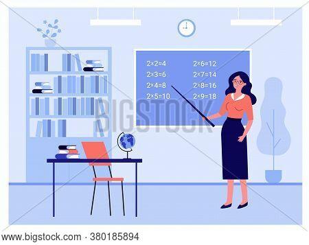 Female Teacher Standing Near Blackboard Isolated Flat Vector Illustration. Cartoon Professor Holding