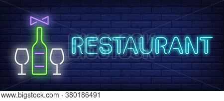 Restaurant Neon Text With Wine Bottle, Glasses And Corkscrew. Winery And Restaurant Advertisement De