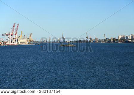 Chernomorsk, Odessa Region/ukraine - July 14, 2017: Сommercial Port Harbor Landscape. Industrial Sea