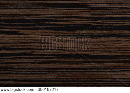Unique Ebony Veneer Background In Dark Color. High Quality Wooden Texture.