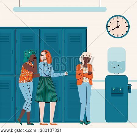 Interior Of School Or College Hall With Group Of Teenage Girls Bullying And Offending Other Teen Gir