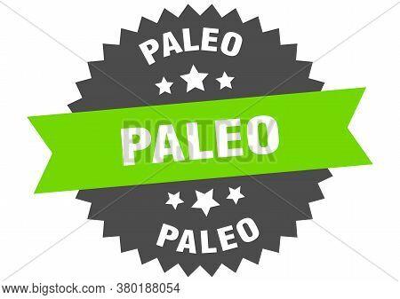 Paleo Round Isolated Ribbon Label. Paleo Sign