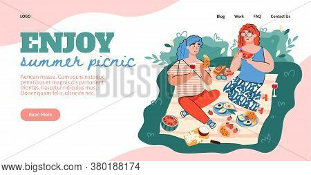 Website Interface With Header Calling To Enjoy Summer Picnic And Couple Eating Outdoors, Flat Vector