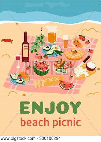 Beach Picnic Invitation Card Template With Tablecloth Served For Picnic On Seashore Sand, Flat Carto