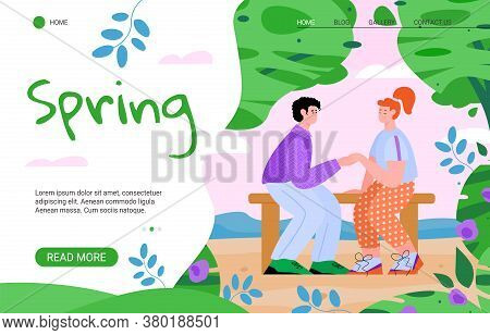 Spring Website Events Announcement Template With Romantic Couple Dating In Park, Flat Cartoon Vector