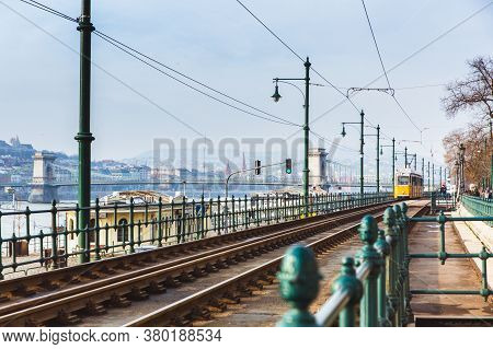 Budapest, Hungary - January 27, 2019: Tramlines In Budapest At Winter Near The Embankment On The Pes