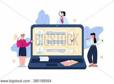 Tiny Hr Department Managers Standing Near Huge Laptop And Looking For New Employee, Flat Vector Illu