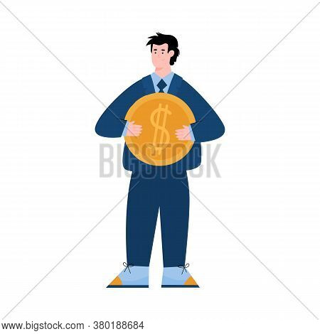 Business Man Holding Big Golden Coin With Dollar Sign - Money And Finance Concept With Cartoon Perso
