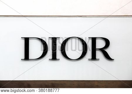 Lyon, France - September 5, 2019: Dior Logo On A Wall. Dior Is A French Luxury Goods Company Control