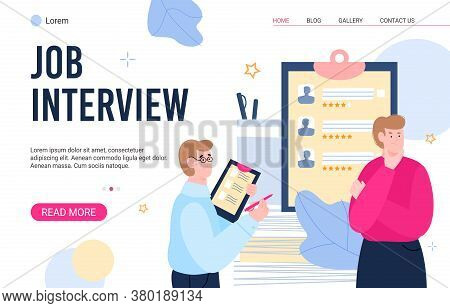 Interview Scene With Candidate And Recruiter Cartoon Character, Flat Vector Illustration. Site Inter