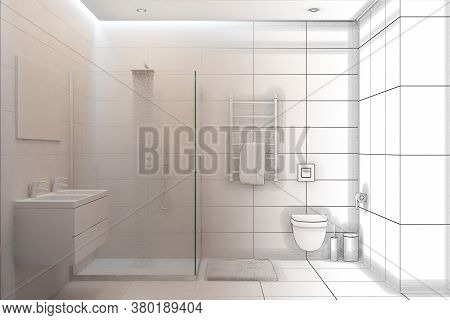 3d Illustration. Sketch Of A Shower To Become A 3d White Interior