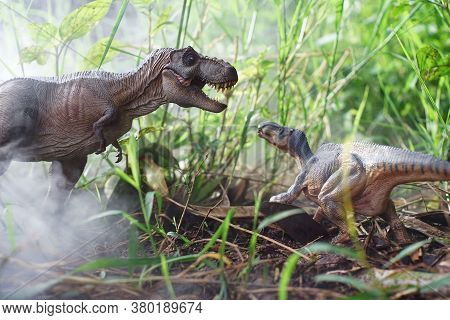 Tyrannosaurus Rex Dinosaurs Is Fighting Iguanodon In A Misty Forest. On Nature Background. Closeup D