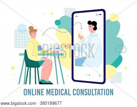 Remote Medical Consultation Of A Female Patient And Doctor. The Therapist Examines The Patient Using