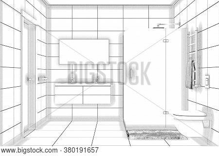 3d Illustration. Sketch Of A Shower Room