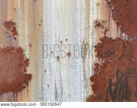 Faded Old Worn Painted Rusted Sheet Metal Siding Steal Wall Suitable For Website Marketing Backgroun