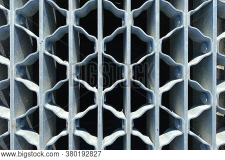 Grey Painted Looking Through Metal Warehouse Stairs Step Suitable For Website Marketing Background B