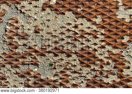 Rusty Eroded Vintage Old Diamond Plate Deep Texture Metal Suitable For Website Background Marketing